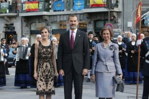 Spanish King Felipe VI and Queen Letizia Ortiz with Spanish Queen Sofia of Greece during the Princess of Asturias Awards 2016 in Oviedo, on Friday 21th October 2016